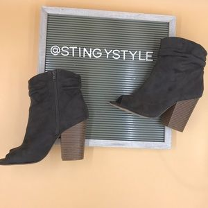 Shoes - Suede Open Toe Booties
